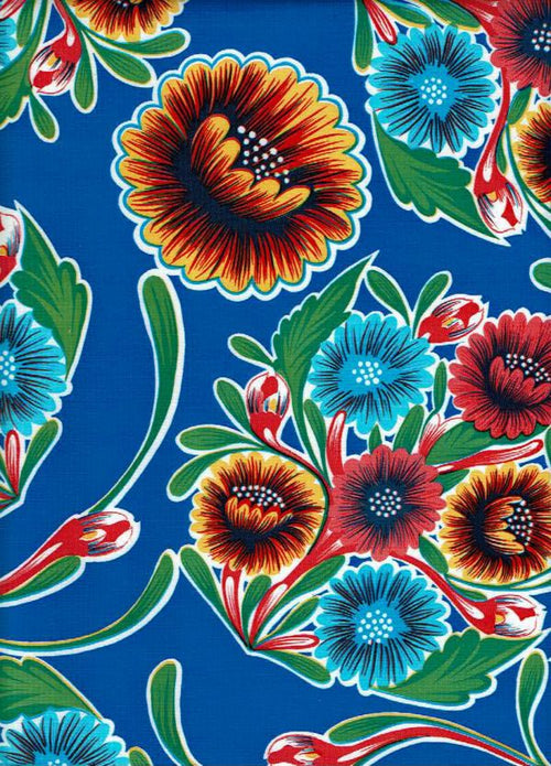 Mexican Oilcloth - Floral on Blue