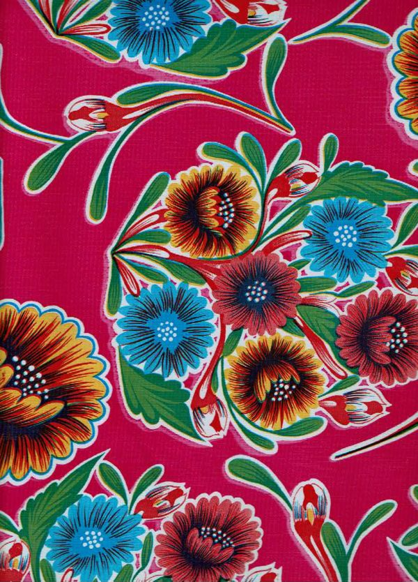 Mexican Oilcloth - Floral on Magenta