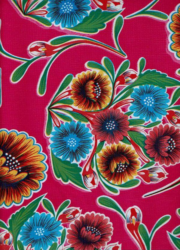 Round Oilcloth Tablecloth – Floral on Magenta