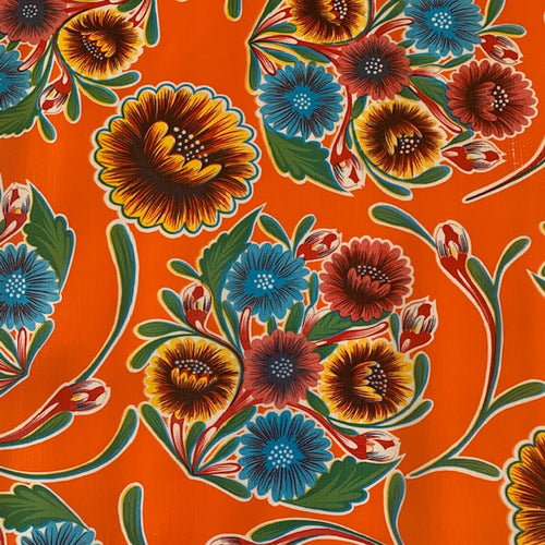 Mexican Oilcloth - Floral on Orange