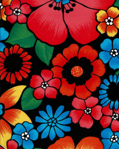 Mexican Oilcloth - Flower Fields on Black