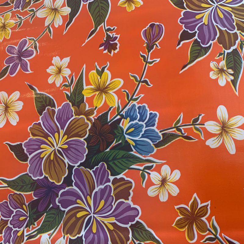 Mexican Oilcloth - Hibiscus on Orange