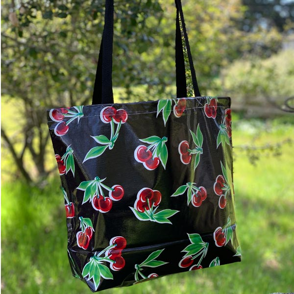 Mexican Oilcloth Market Bag – Cherries on Black