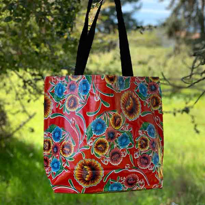 Mexican Oilcloth Market Bag – Floral on Red