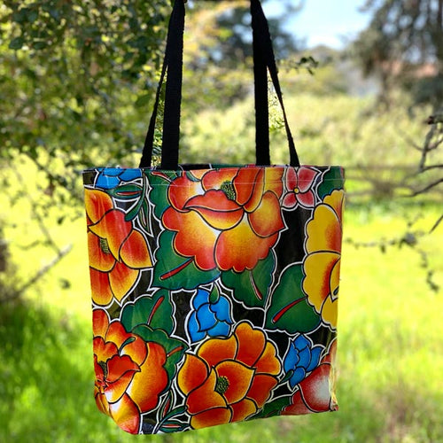 Mexican Oilcloth Market Bag – Frida on Black