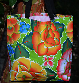 Mexican Oilcloth Market Bag – Frida on Lime