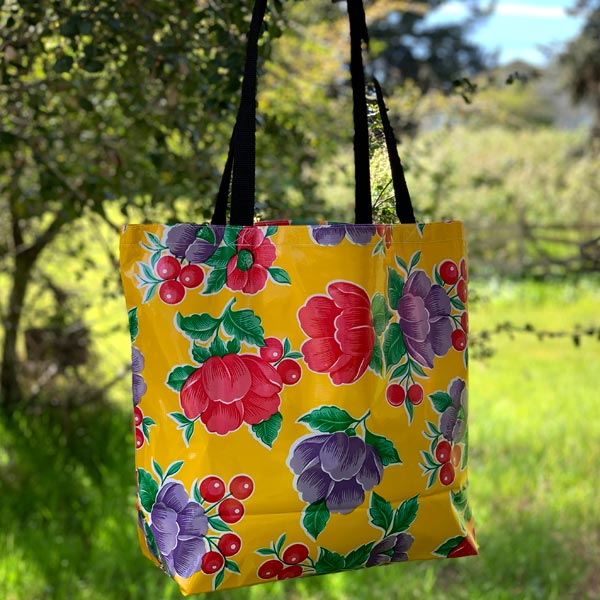 Mexican Oilcloth Market Bag – Poppy on Yellow