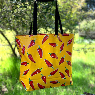 Mexican Oilcloth Market Bag – Red Chile Peppers on Yellow