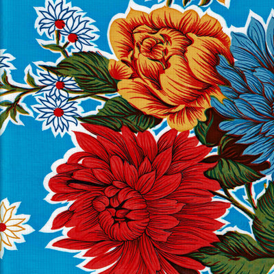 Mexican Oilcloth - Mums on Blue