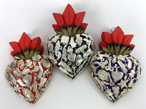 Wood milagro encrusted hearts - medium