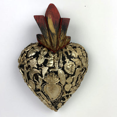 Wood milagro encrusted hearts - X Large