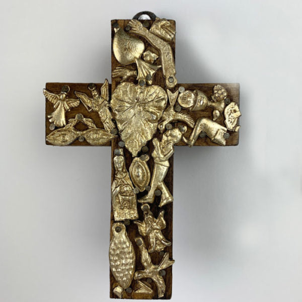 Milagro encrusted wood cross