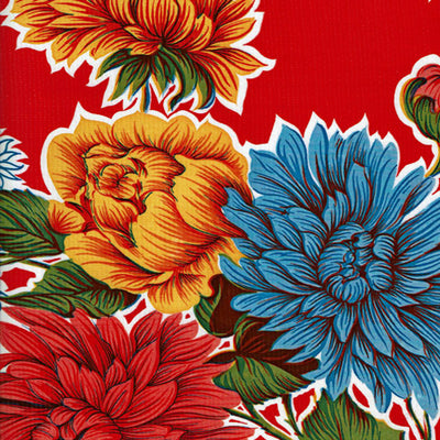 Mexican Oilcloth - Mums on Red