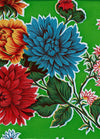 Mexican Oilcloth - Mums on Lime Green