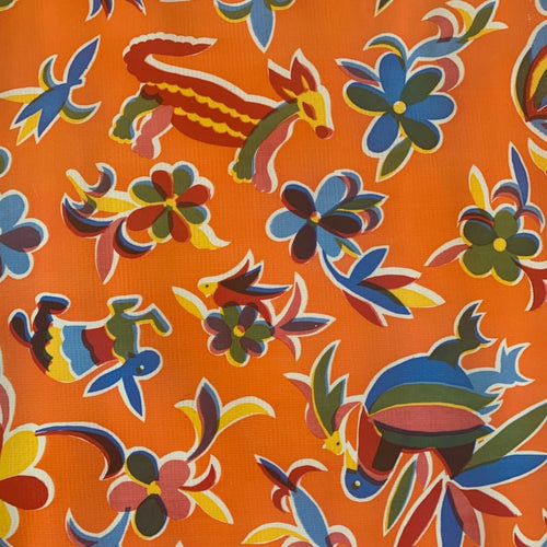 Mexican Oilcloth - Animales on Orange