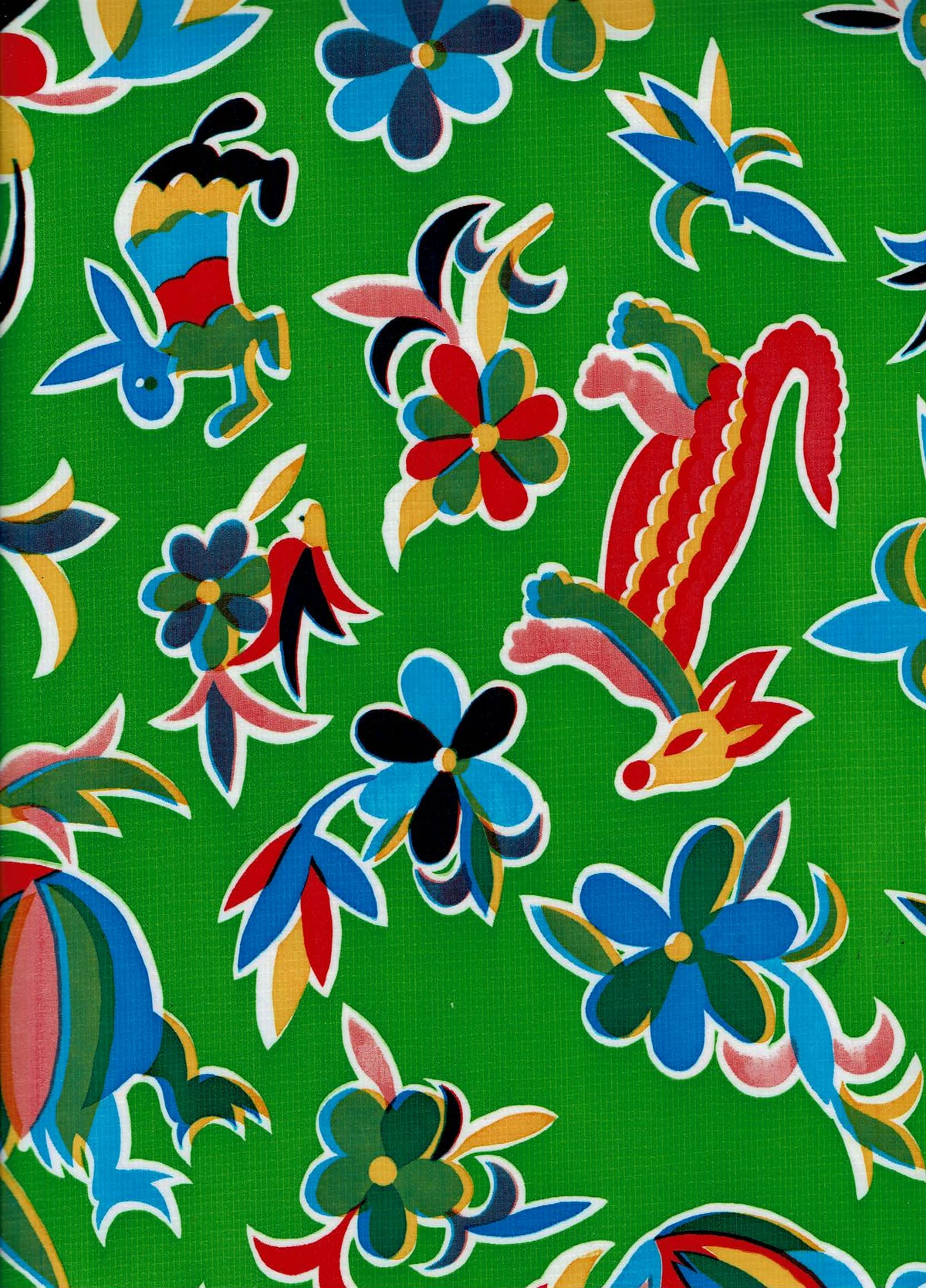 Mexican Oilcloth - Animales on Lime Green (C)
