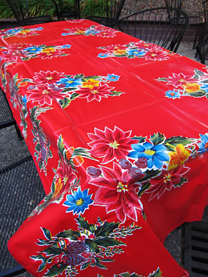Oilcloth Tablecloth – Poinsettia in Red