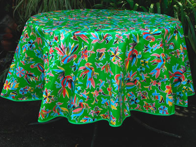 Round Oilcloth Tablecloth – Animales on Green
