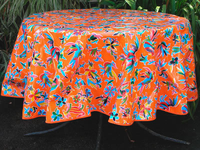 Round Oilcloth Tablecloth – Animales on Orange