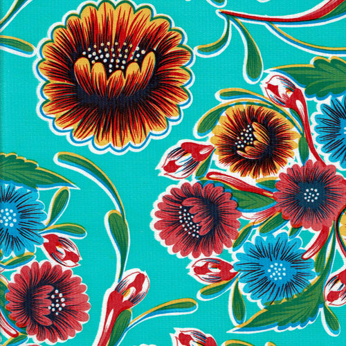 Oilcloth Tablecloth – Floral Aqua