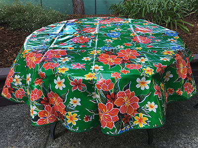 Round Oilcloth Tablecloth – Hibiscus on Green