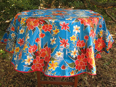 Round Oilcloth Tablecloth – Hibiscus on Royal Blue