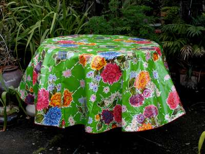 Round Oilcloth Tablecloth – Mums on Green