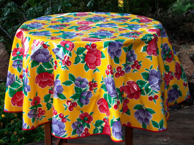 Round Oilcloth Tablecloth – Poppy on Yellow