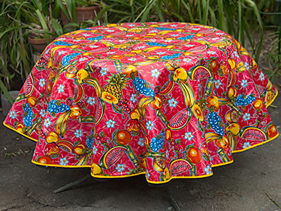 Round Oilcloth Tablecloth – Tropic on Red