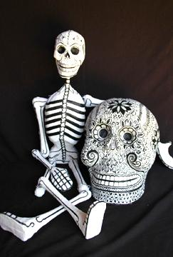"""Skully"" Dangling Papier Mache Skeleton - 4 Foot"
