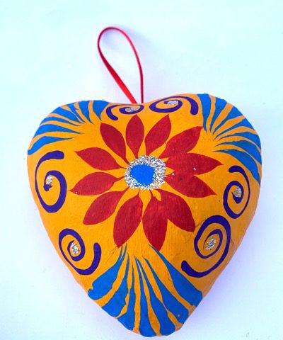Large Papier Mache Heart Ornament