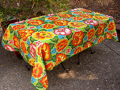 Picnic Table Oilcloth – Frida on Lime Green