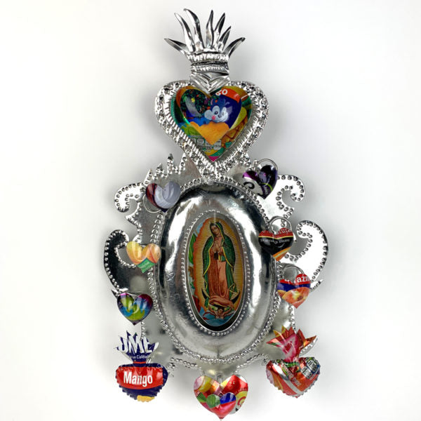 Recycled Can Shrine with flaming heart