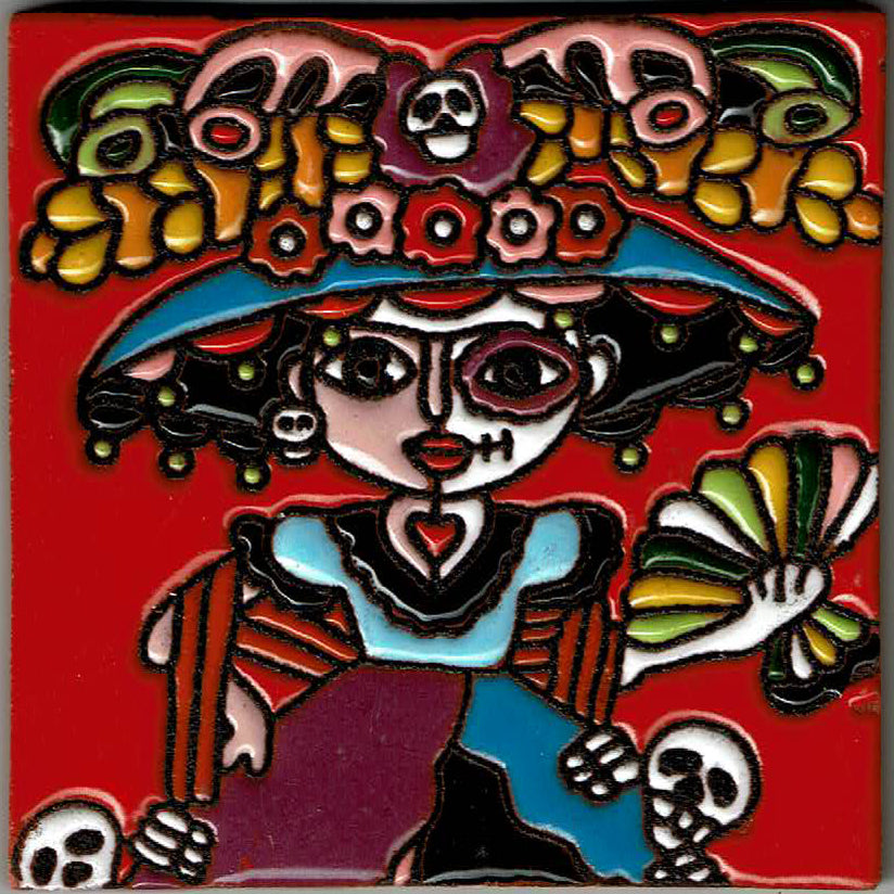 Red Catrina Mexican Tile