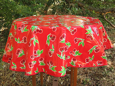 Round Oilcloth Tablecloth – Cherries on Red