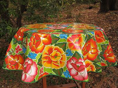 Round Oilcloth Tablecloth – Frida on Lime Green