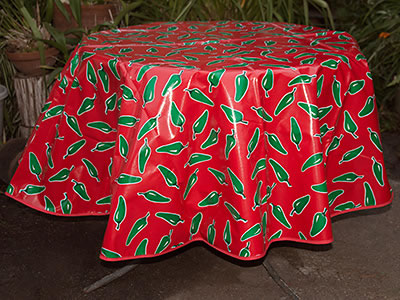 Round Oilcloth Tablecloth – Green Chile Peppers on Red
