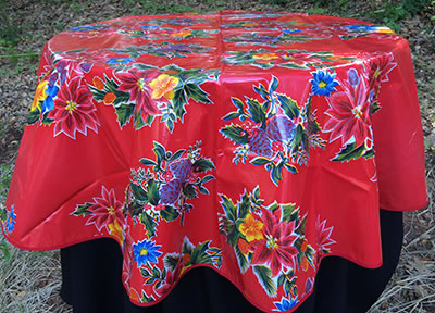 Round Oilcloth Tablecloth – Poinsettia in Red