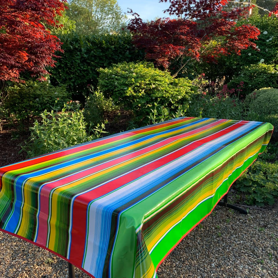 Picnic Table Oilcloth – Saltillo Serape Stripe