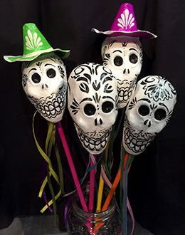 Sombrero Skull Ribbon Rattle
