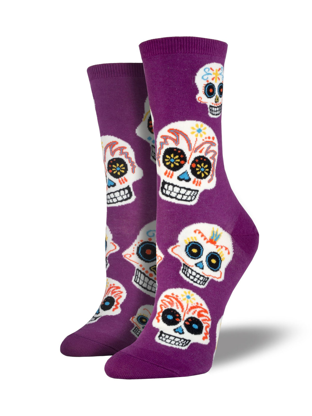 Women's Sugar Skull Socks - Royal Purple