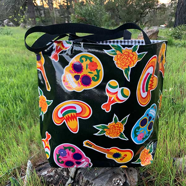 Sugar Skull Tote Bag - Black