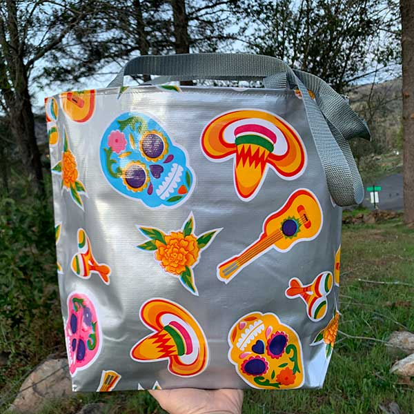 Sugar Skull Tote Bag - Silver