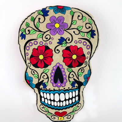 Sugar Skull Embroidered Pillow