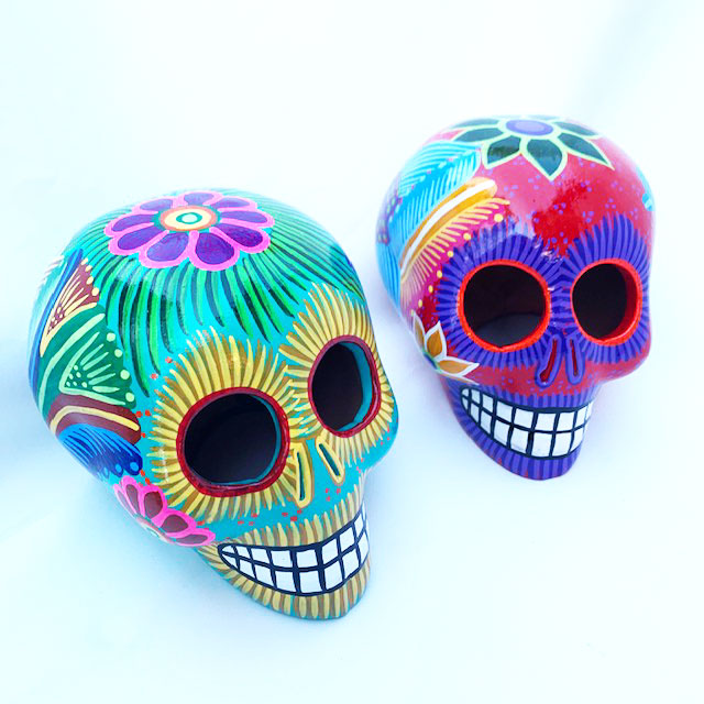 Tropical Altar Skull - Hand Painted Ceramic