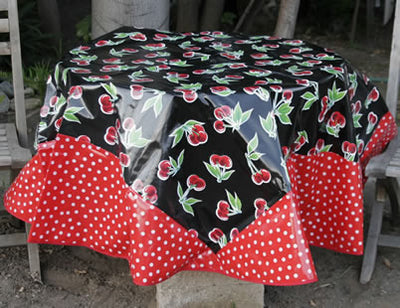 Mexican Oilcloth - Cherries on Black