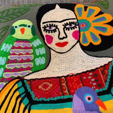 Frida Pillow with Parrots