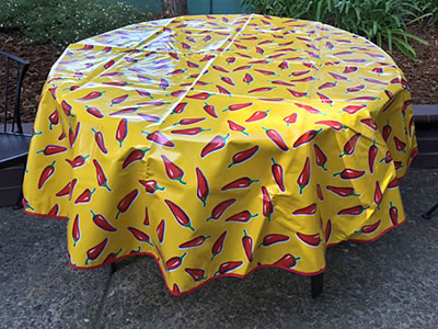 Mexican Oilcloth - Red Chile Peppers on Yellow