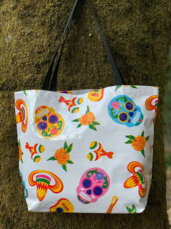 Sugar Skull Tote Bag - White