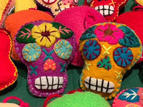 Felted Sugar Skull Ornament